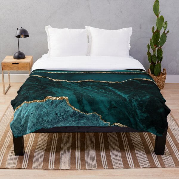 Amazing Blue and Teal Malachite Marble Throw Blanket