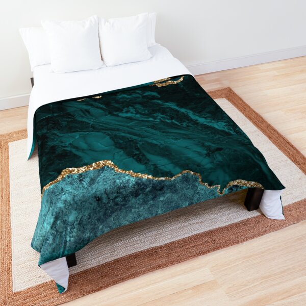 Amazing Blue and Teal Malachite Marble Comforter