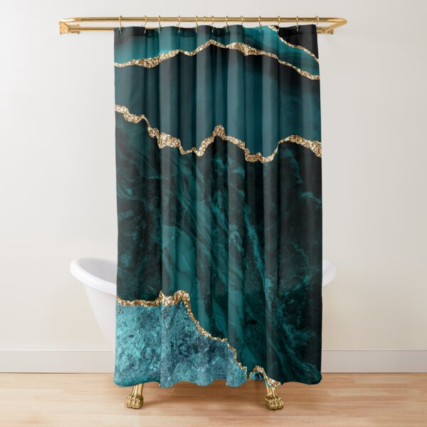 Amazing Blue and Teal Malachite Marble Shower Curtain
