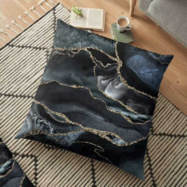 Night Masculine Marble Landscapes Floor Pillow