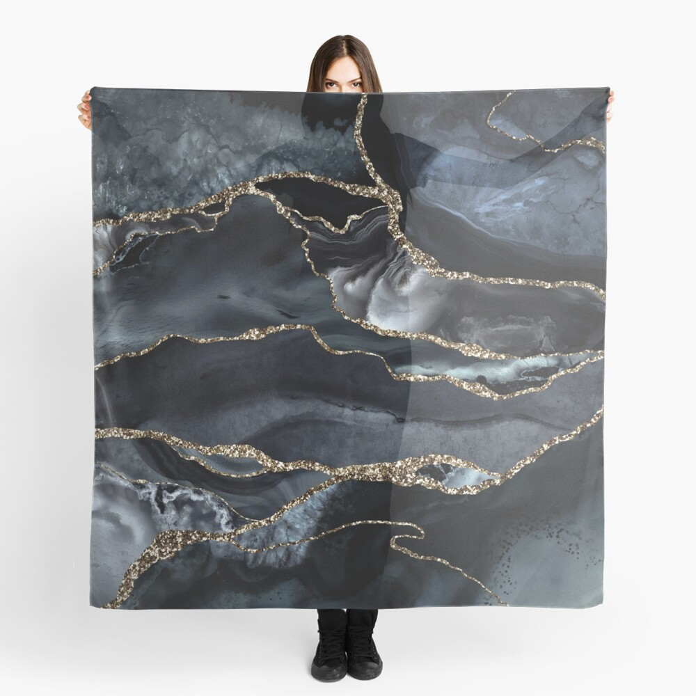 Night Masculine Marble Landscapes Scarf