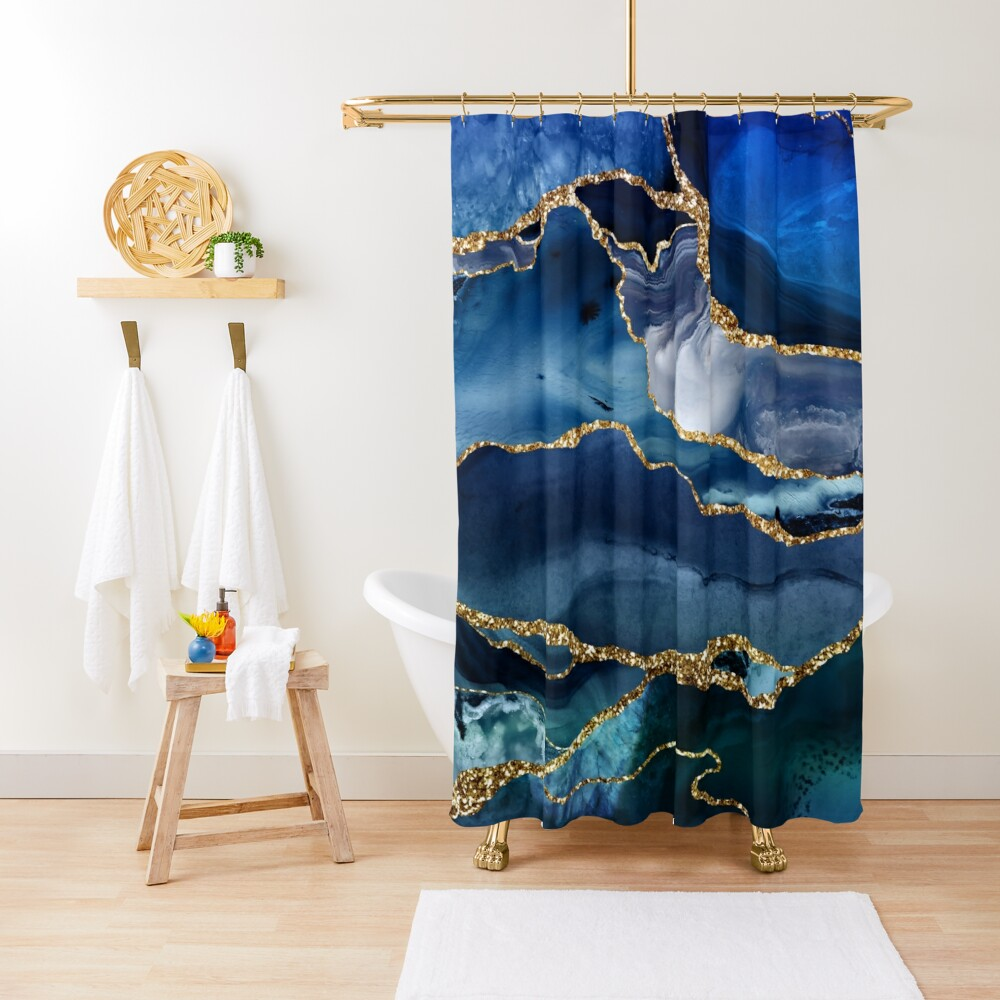 Classic Blue Malachite Marble Shower Curtain