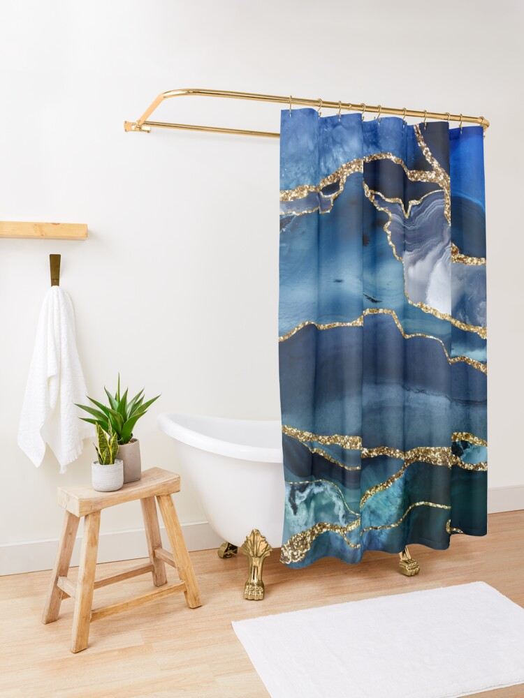 Alternate view of Classic Blue Malachite Marble Shower Curtain