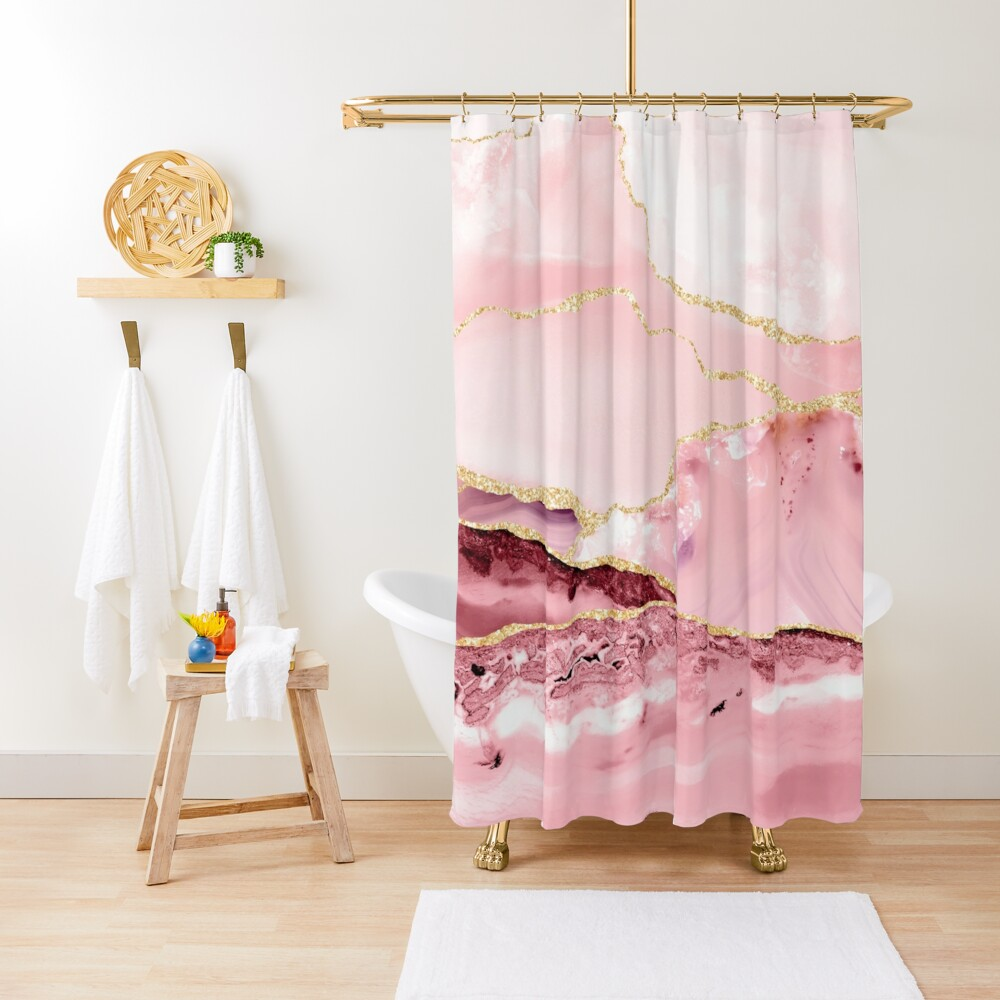 Beautiful Mermaid Marble With Gold Glitter veins Shower Curtain