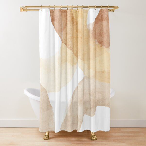 Abstract Neutral watercolor circles Shower Curtain