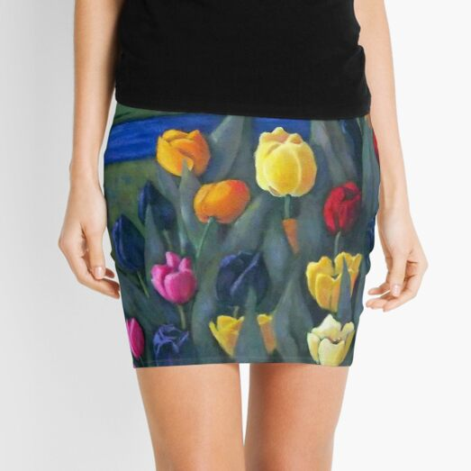 Dutch Tulips, Hand Painted Flowers, Holland, Windmill, Painting, Art Mini Skirt