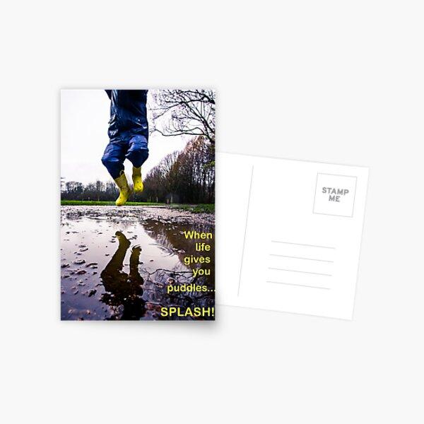 When life gives you puddles...splash! Postcard