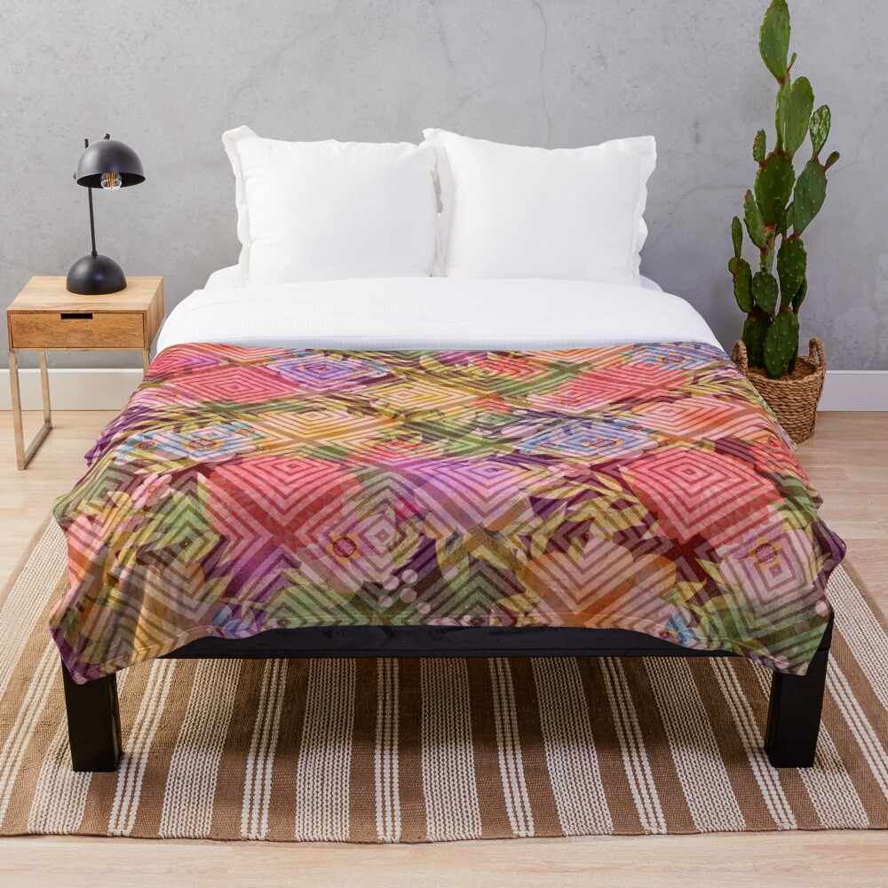 Visions of Spring Flowers Floral Bliss Fantasy Print Throw Blanket