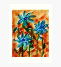 Blue flowers, watercolor Art Print