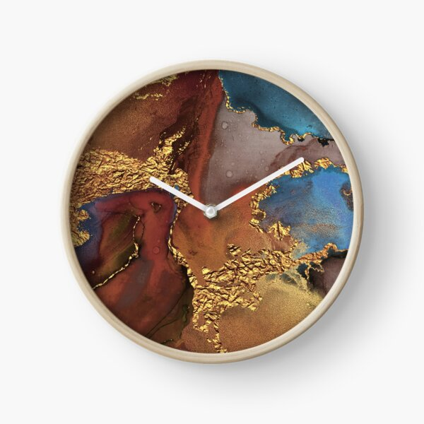Stylish Girly Trend Autumn Ink Marble Texture Clock