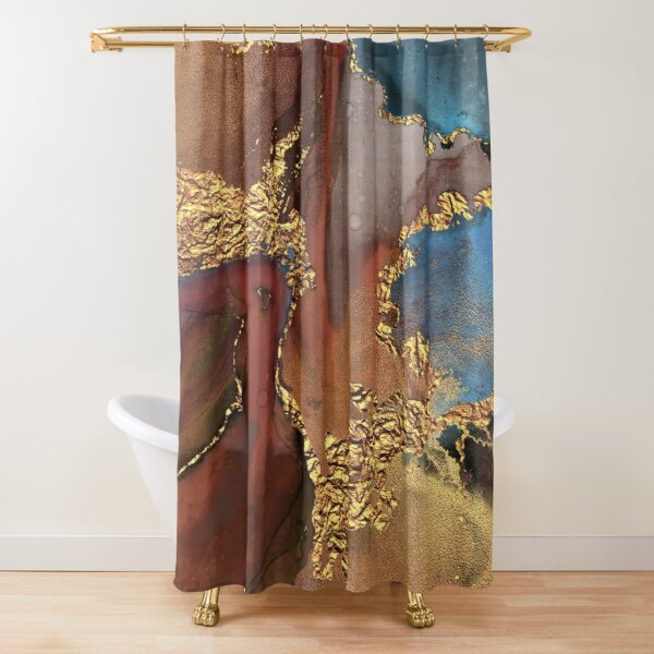 Stylish Girly Trend Autumn Ink Marble Texture Shower Curtain