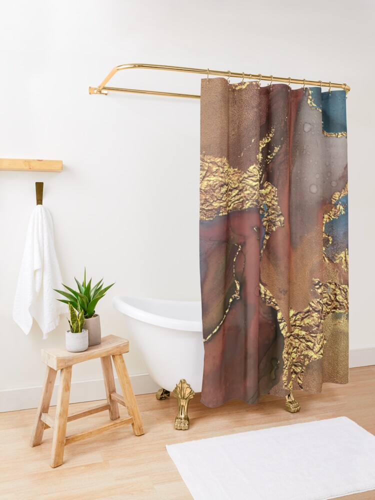 Alternate view of Stylish Girly Trend Autumn Ink Marble Texture Shower Curtain