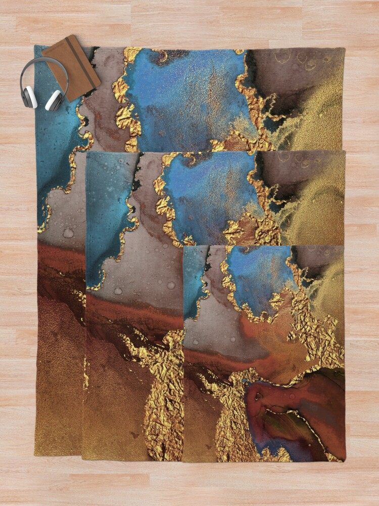Alternate view of Stylish Girly Trend Autumn Ink Marble Texture Throw Blanket