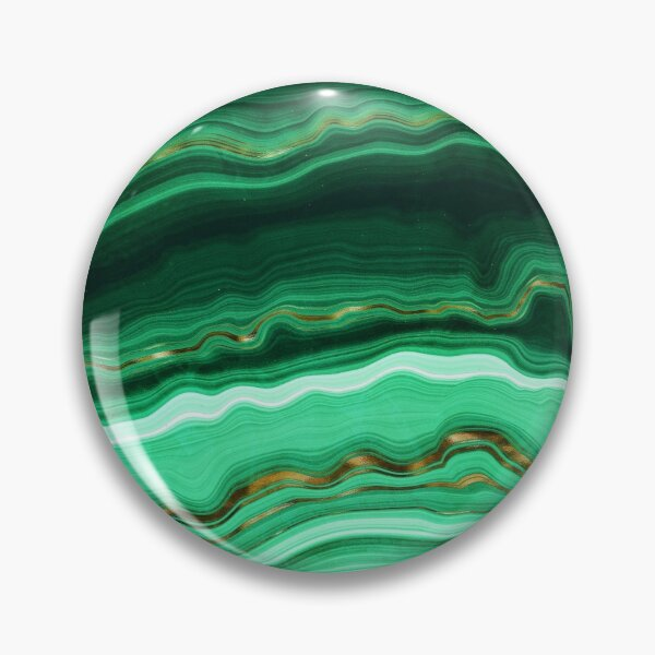 Green and Gold and Mint veined Malachite Gemstone Pin