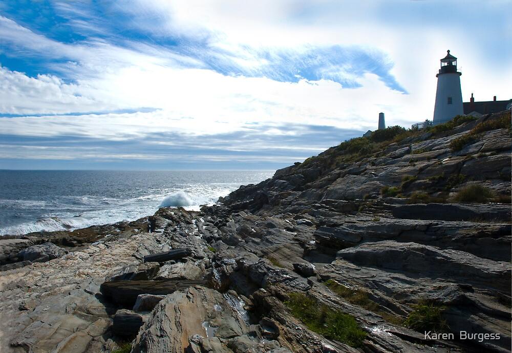 New England Lighthouse by Karen  Burgess