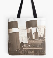 Waverley Paddle Steamer Funnels in Sepia Tote Bag