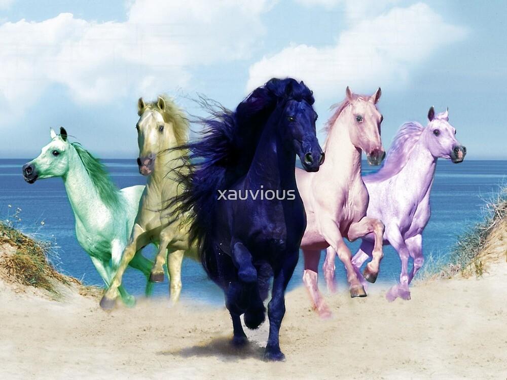 Rainbow Horses by xauvious