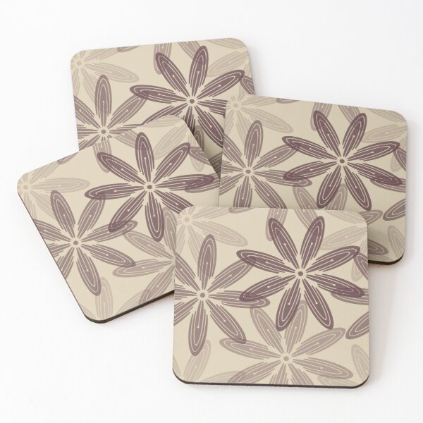 Mandala Swirl Collection Floral Seamless Surface Pattern Coasters (Set of 4)