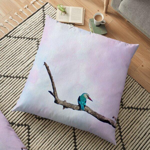 Pastel Kingfisher on Tree Floor Pillow