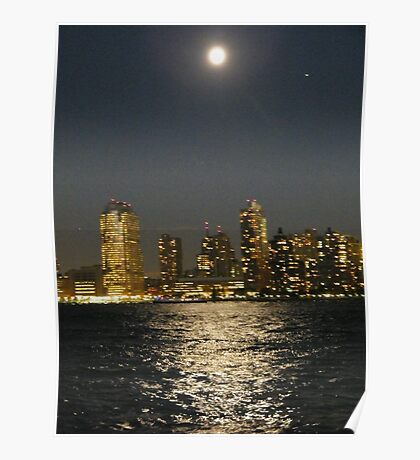 Moon Reflecting on Hudson River, Jersey City View Poster