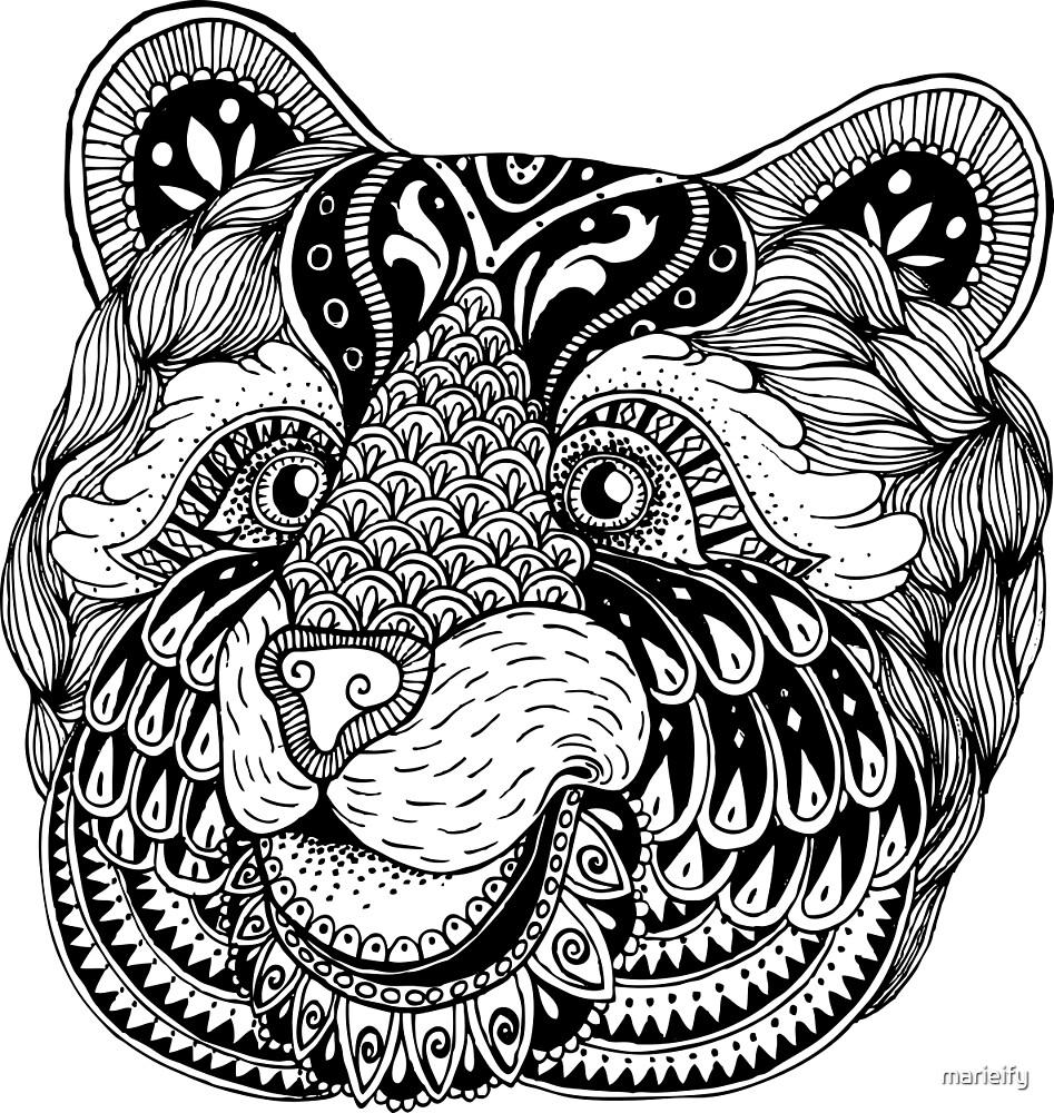 Zentangle bear portrait. by marieify