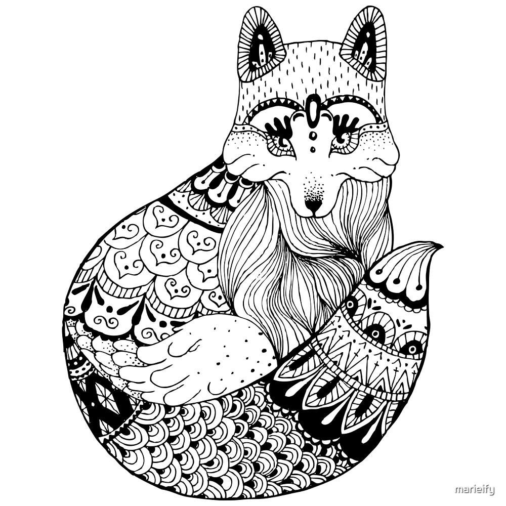 Zentangle fox portrait. by marieify