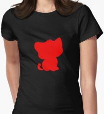 BeBe Kitty in red Womens Fitted T-Shirt