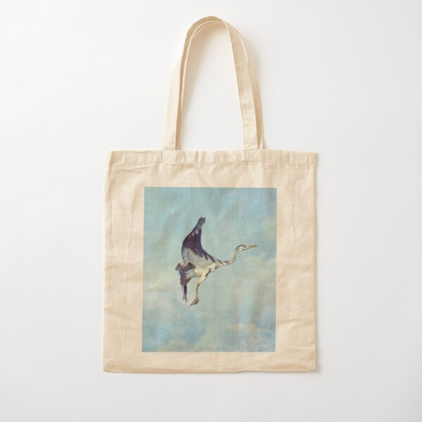 Heron in the Clouds Cotton Tote Bag