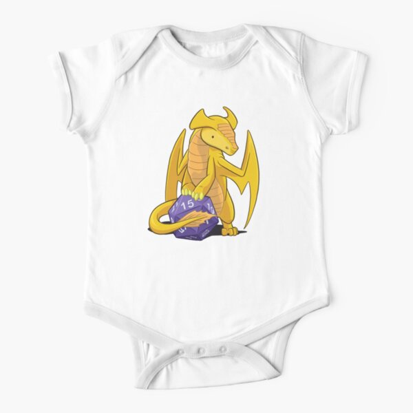 D20 Gold Dragon Short Sleeve Baby One-Piece