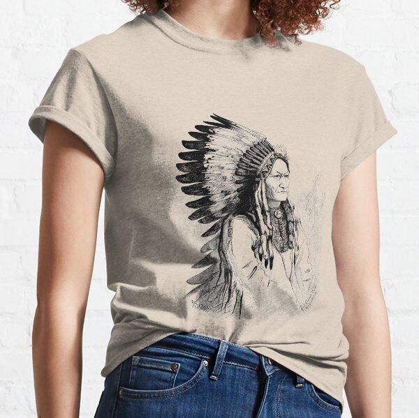 American Native Sitting Bull 5-NEUF Coton GRIS T-Shirt