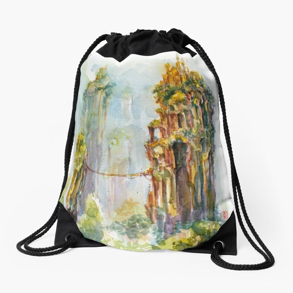Pillars of Angae - Watercolor Art by Tony Moy Drawstring Bag