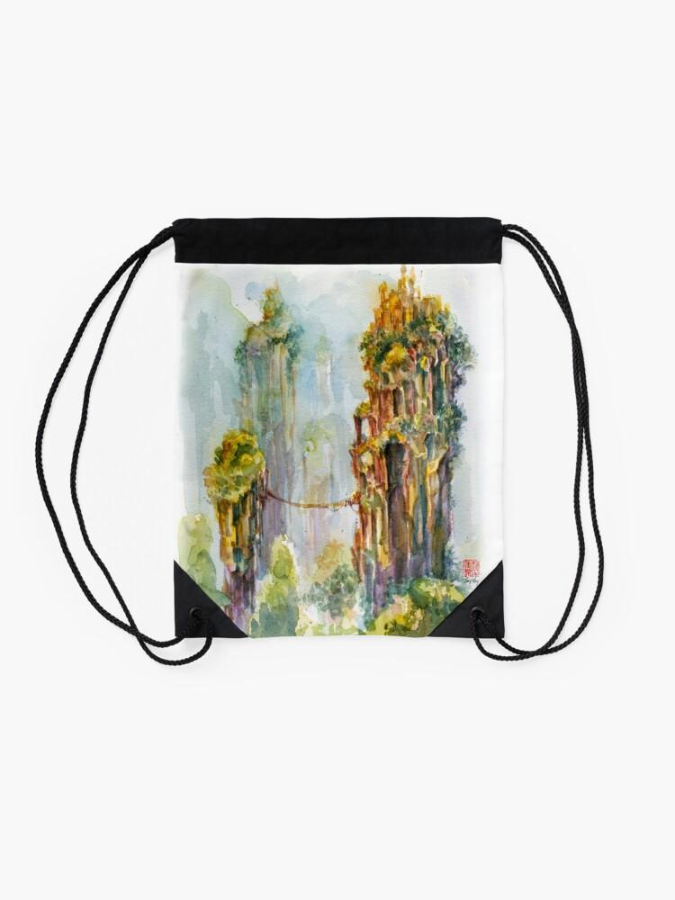 Alternate view of Pillars of Angae - Watercolor Art by Tony Moy Drawstring Bag