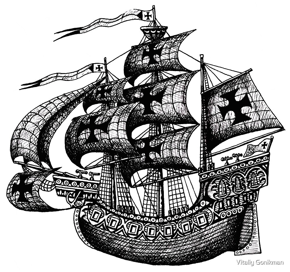 Tall Ship black and white pen ink drawing by Vitaliy Gonikman