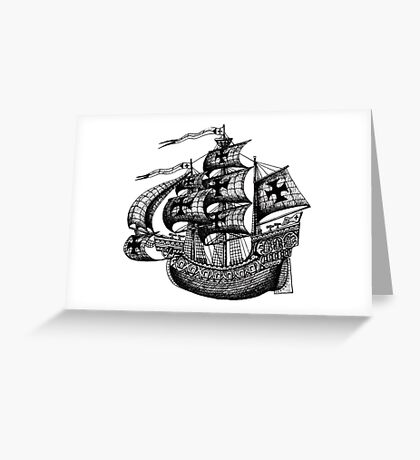 Tall Ship black and white pen ink drawing Greeting Card