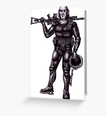 Old Astronaut black and white pen ink drawing Greeting Card