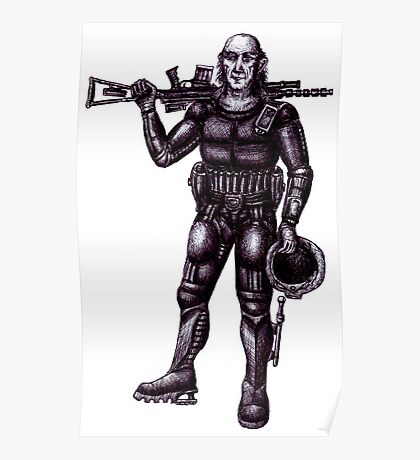 Old Astronaut black and white pen ink drawing Poster