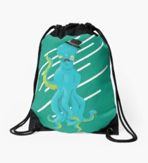 Top Hat Octopus - Line graphic Drawstring Bag