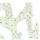 Geometric landscape green drawing by BellaBark
