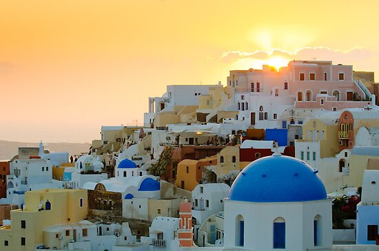 Oia village at sunset, Santorini island, Greece by javarman
