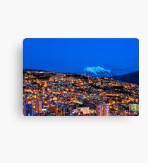 Panorama of La Paz of night, Bolivia Canvas Print