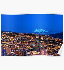 Panorama of La Paz of night, Bolivia Poster