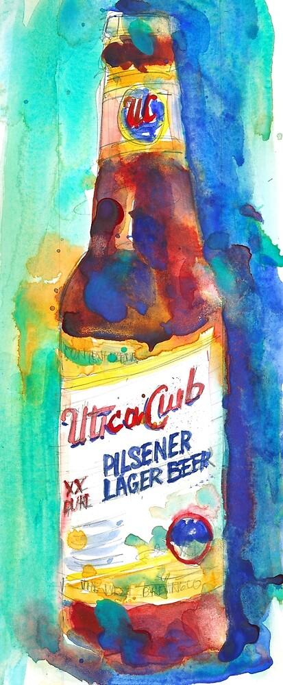 UTICA CLUB BEER Print from Original Watercolor by Dorrie  Rifkin