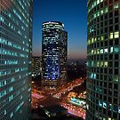 Tel Aviv buildings at night by NeilAlderney
