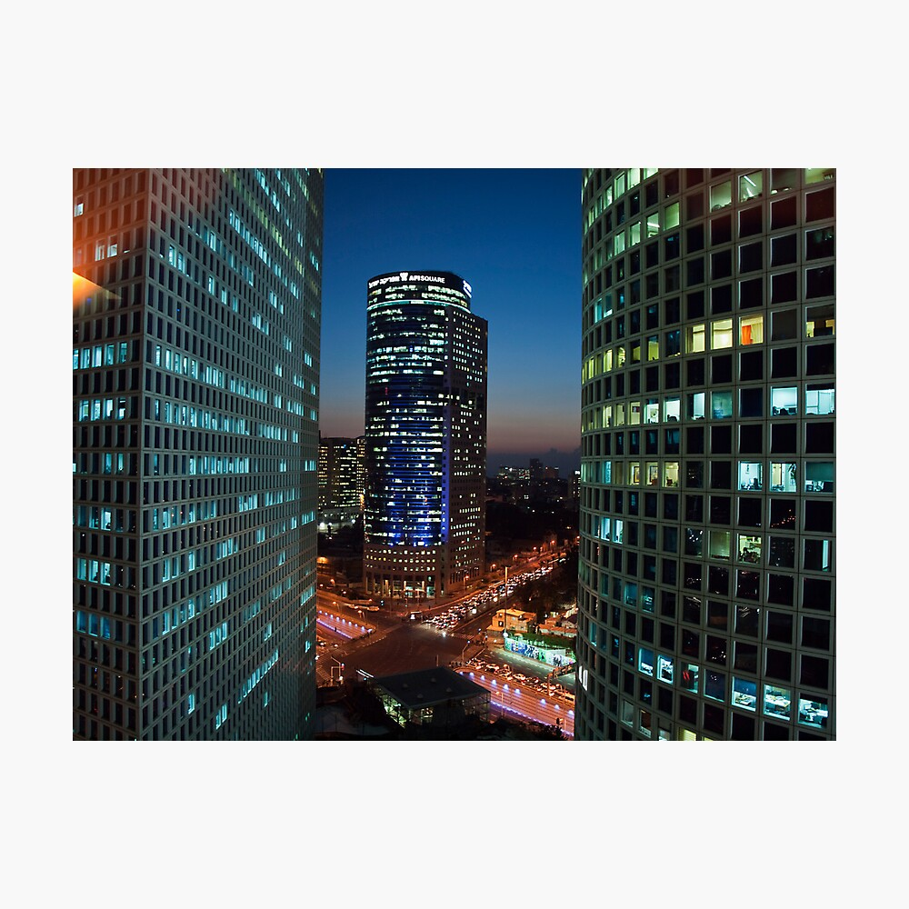Tel Aviv buildings at night Photographic Print