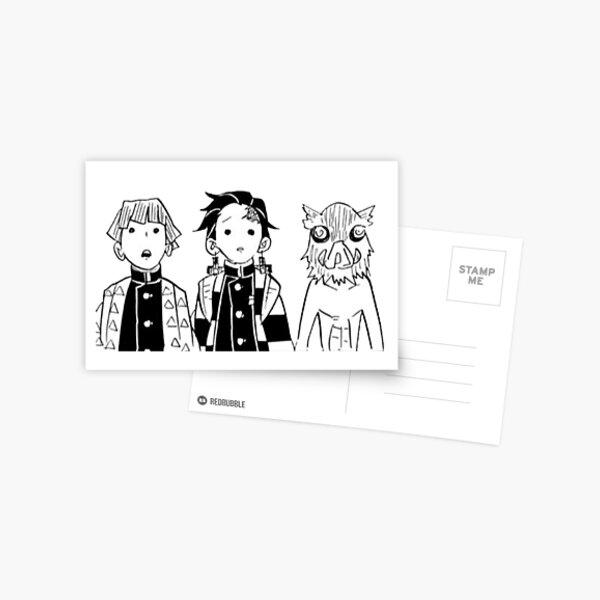 Zenitsu, Tanjiro, and Inosuke Manga Cap Postcard