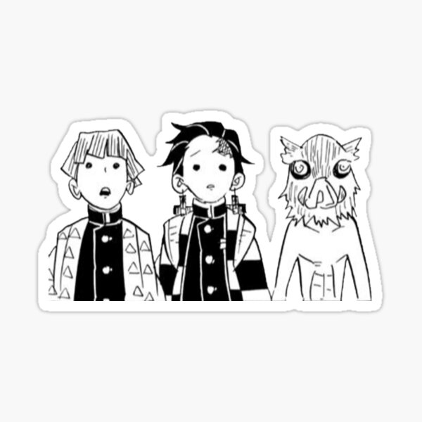 Zenitsu, Tanjiro, and Inosuke Manga Cap Sticker