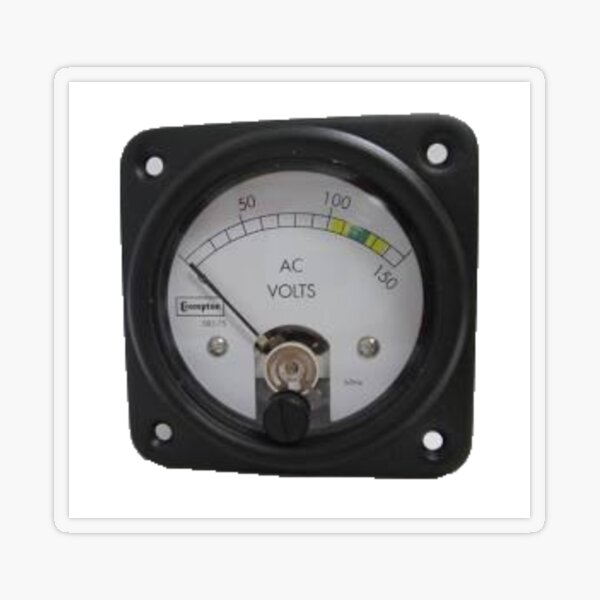 #Ancient #Voltmeter, #Gauge, #Dial, AC, Volts, technology, electricity, ampere, equipment, control, instrument Transparent Sticker