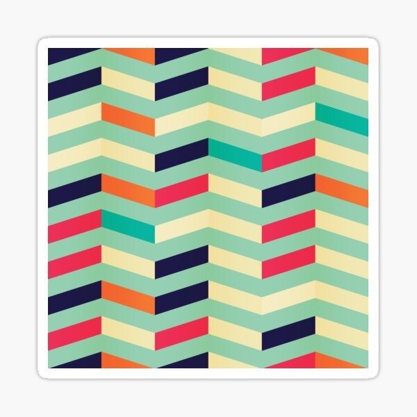 Retro Teal and Turquoise Zig-Zag Vertical Stripes Sticker