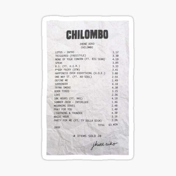 Chilombo Receipt Sticker