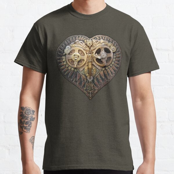Steampunk Owl Love Heart Golden Classic T-Shirt